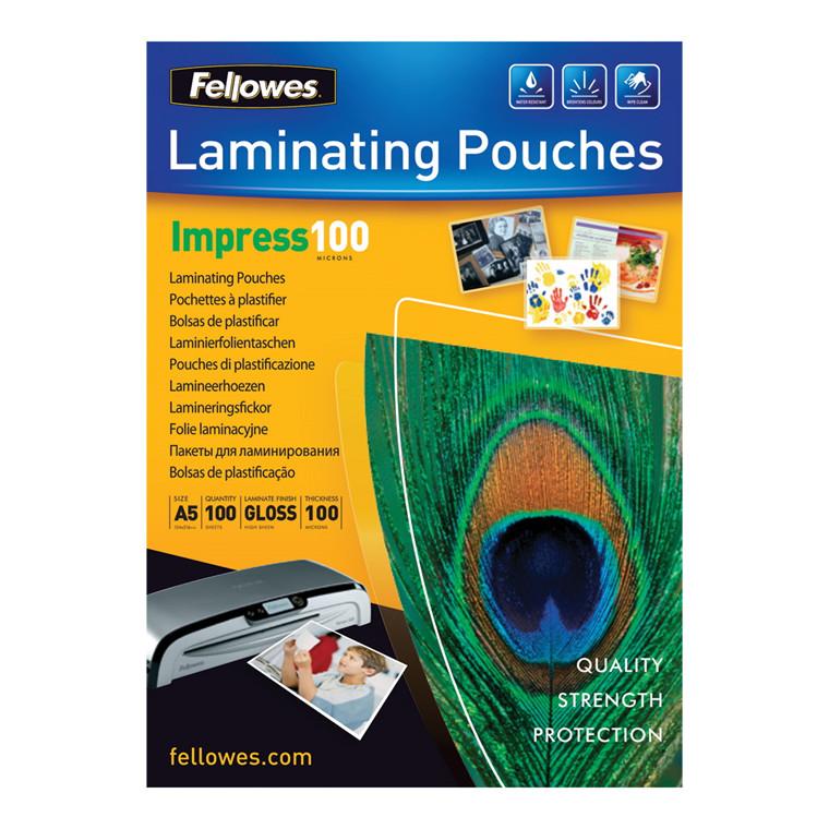 Lamineringslommer - Fellowes A5 100 mic glossy  - 100 stk