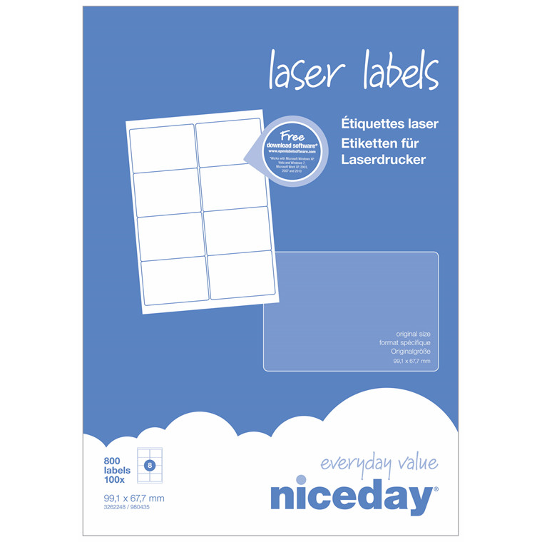 Laser label - niceday A4 3262248 8 pr. ark 99,1 x 67,7mm - 100 ark