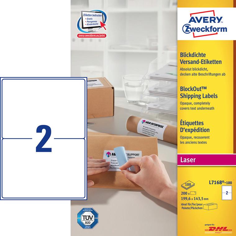 Avery L7168 laseretiket 2 pr ark 199,6 x 143,5 mm - 100 ark