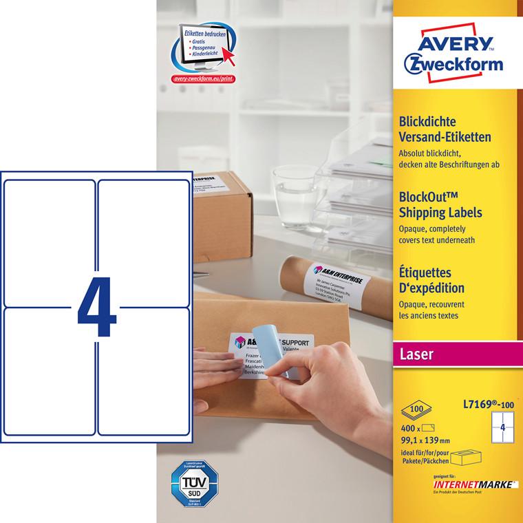 Avery L7169 laseretiket 4 pr ark 99 x 139 mm - 100 ark