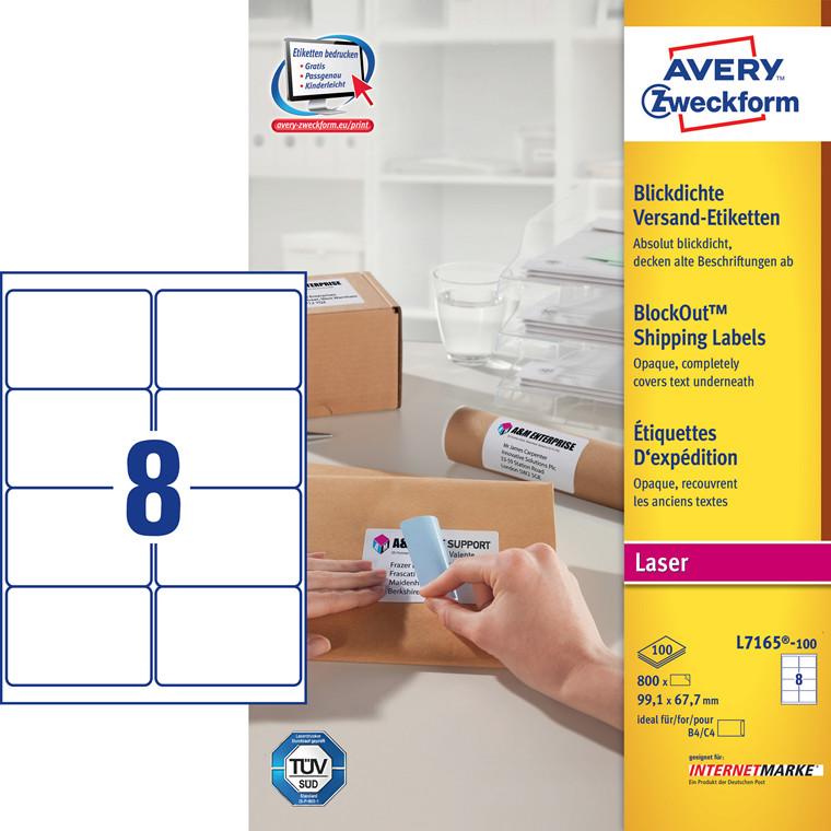 Avery L7165 laser etiketter 8 pr ark 991 x 677 mm - 100 ark