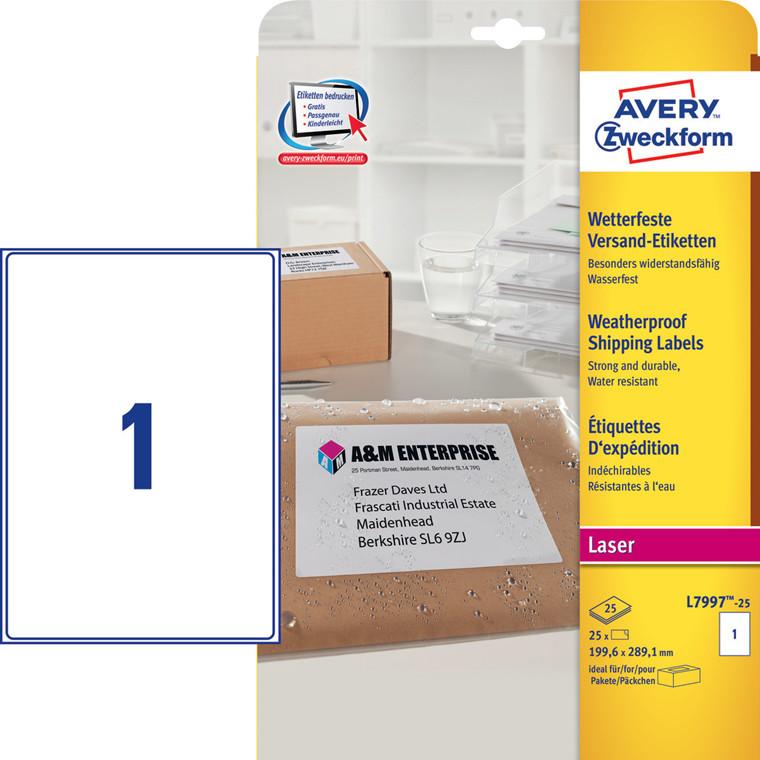 Avery L7997-25 - Vejrbestandige pakkeetiketter 199,6 x 289,1 mm - 25 stk