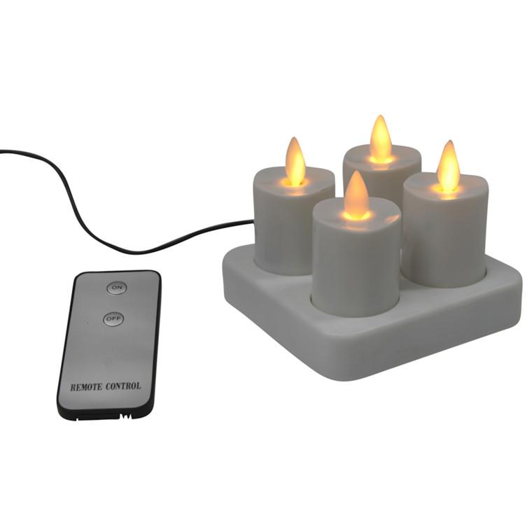 LED lys, med bevægende flamme, sæt á 4 stk. Inkl. adapter og fjernbetjening. Opladningstid: 5 timer,