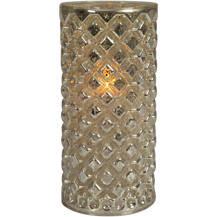 LED lysestage, 15,5cm, Ø7,5cm, sølv, glas, med timer, ekskl. 3xAAA batterier