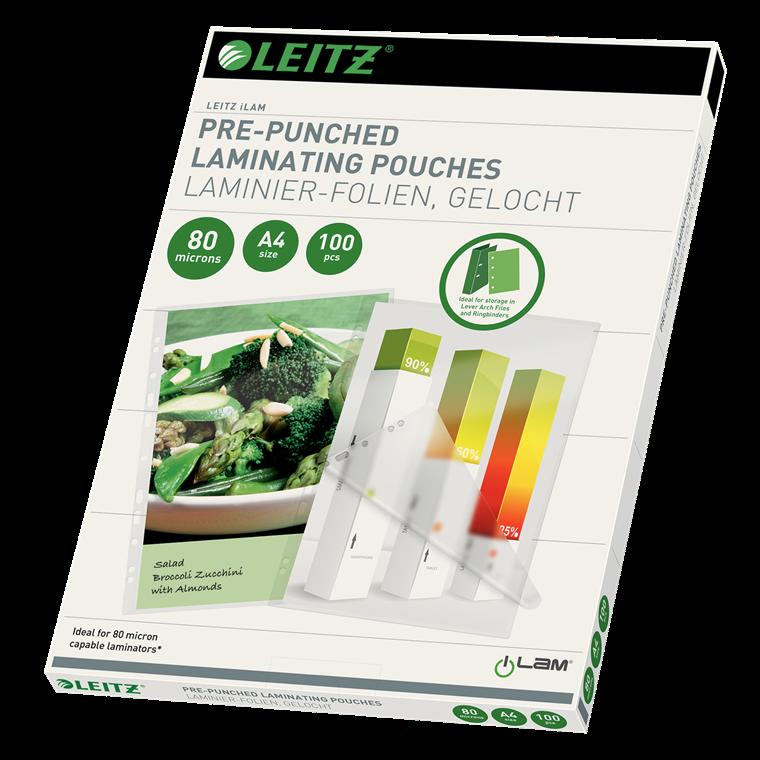 Leitz Lamineringslommer A4 forhullet 80 mic - 100 stk