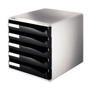 A4 skuffekabinet med 5 sorte skuffer - Leitz Post