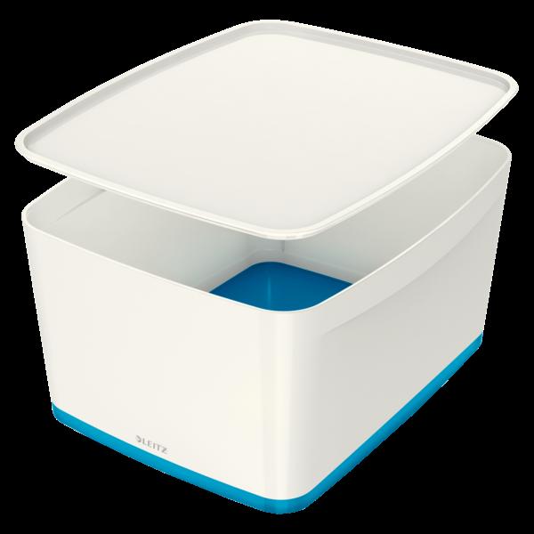 Leitz MyBox Large opbevaringsboks med låg 31,8 x 38,5 x 19,8 cm - Hvid & blå