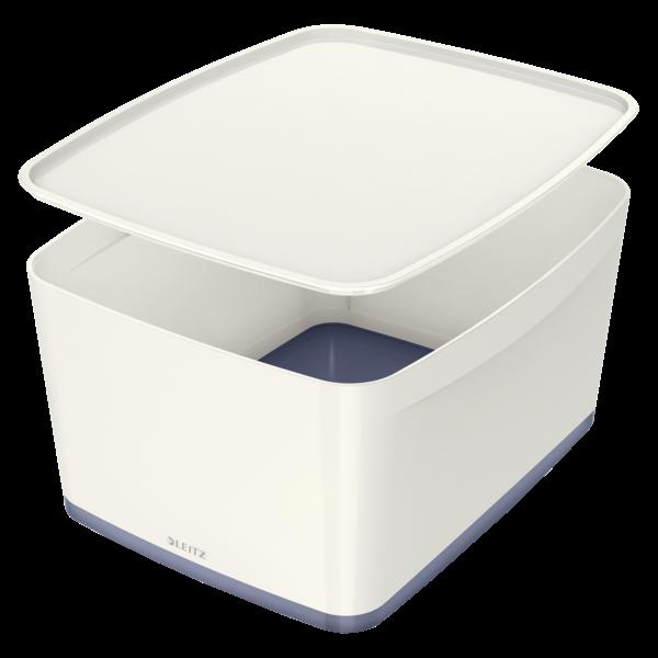 Leitz MyBox Large opbevaringsboks med låg 31,8 x 38,5 x 19,8 cm - Hvid & grå