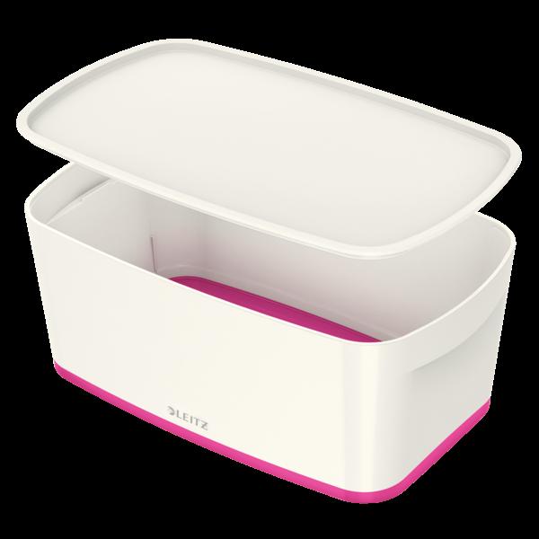 Opbevaringsboks med låg Leitz MyBox Small 31,8 x 12,8 x 19,1 cm - hvid/pink