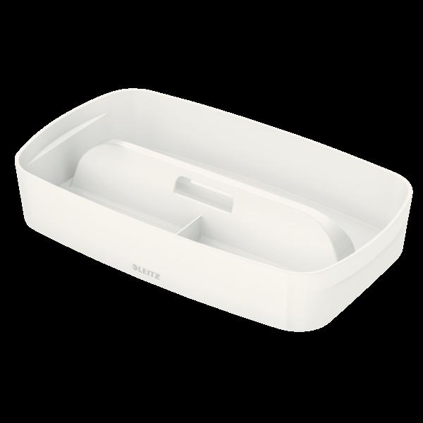 Organiseringsbakke med håndtag Leitz Mybox Small hvid - 18,1 x 30,7 x 5,6 cm