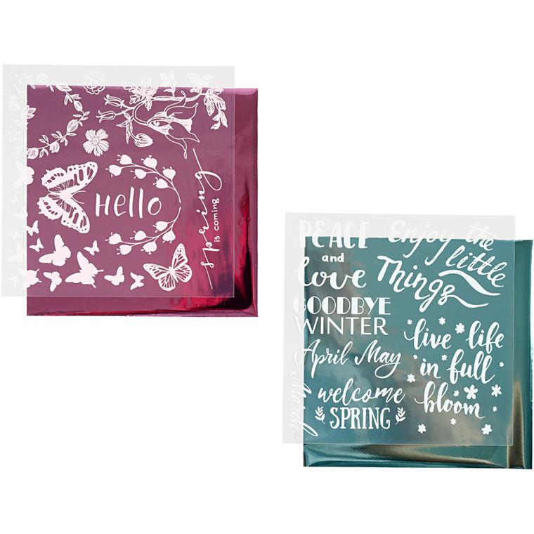 Limfolie og design limark, ark 15x15 cm, lys blå, pink, forår, 2x2ark