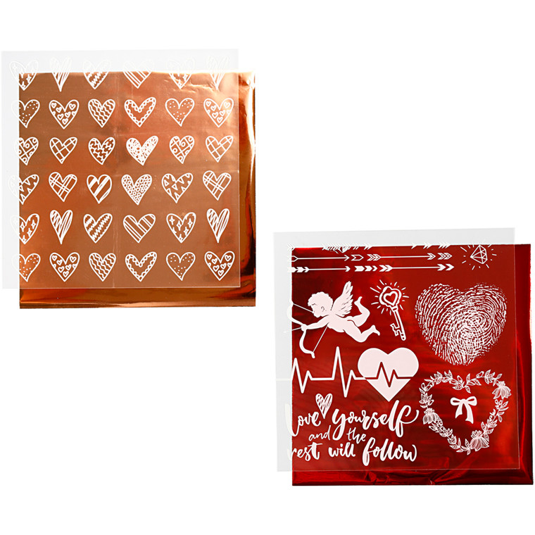 Limfolie og design limark, ark 15x15 cm, rosaguld, rød, hjerter og kærlighed, 2x2ark