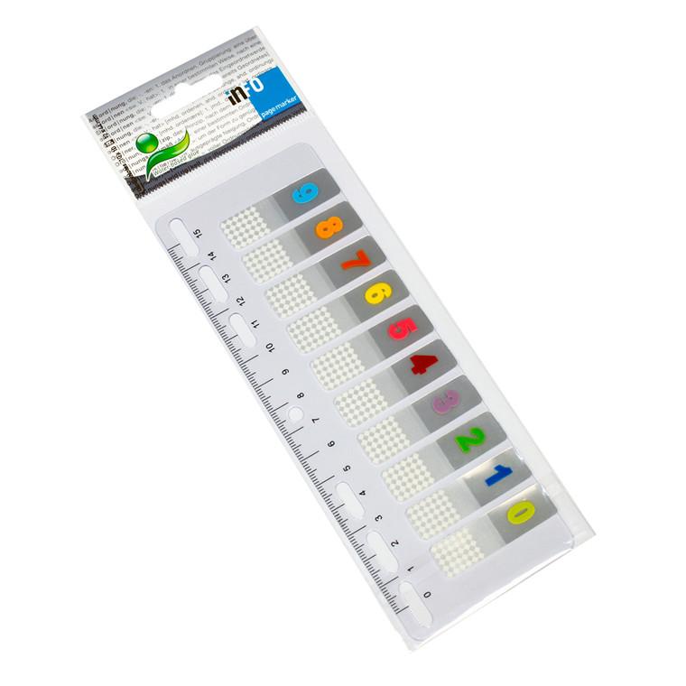 Lineal med 10 indexfaner 0 til 9 -  12 x 44 mm - 10 x 10 stk