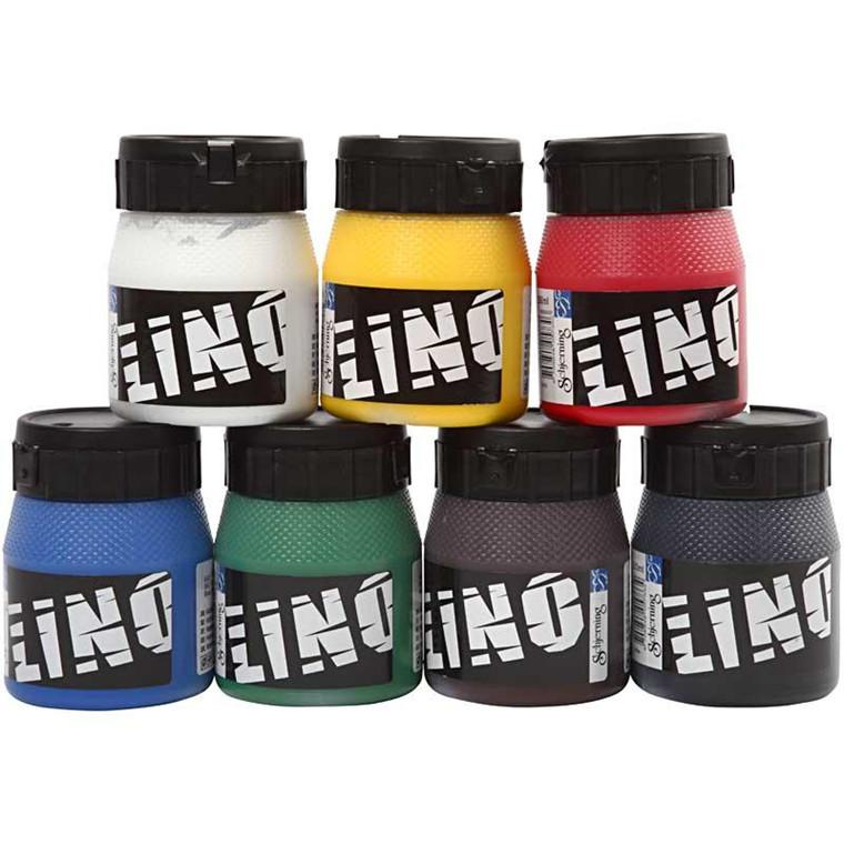 Linoleumssværte assorterede farver | 7 x 250 ml