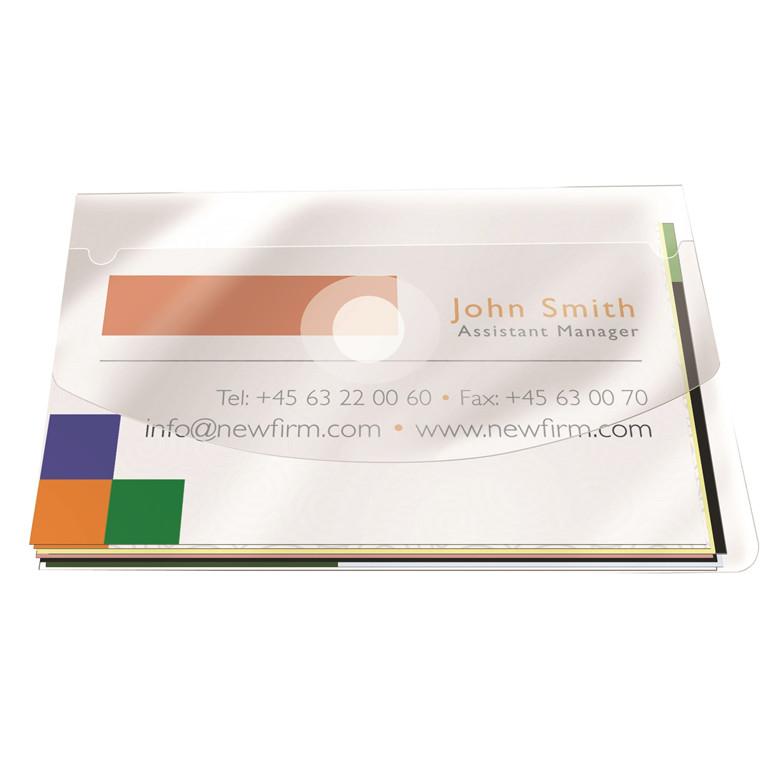 Lomme til visitkort m. flap 105x60mm selvklæbende