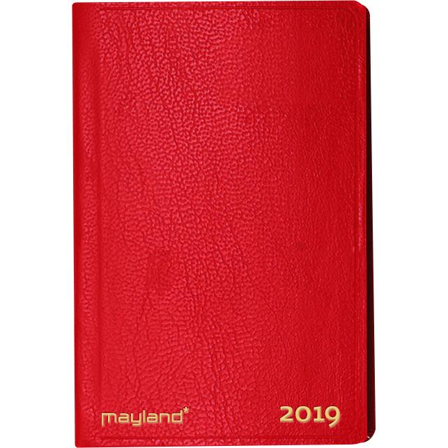 Kalenderbog 2019 lille uge indbundet rødt kunstskind 7 x 11 cm - 19162030