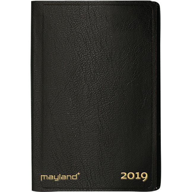 Lommekalender 2019 Mayland uge indbundet sort kunstskind 7 x 11 cm tværformat - 19 1620 10