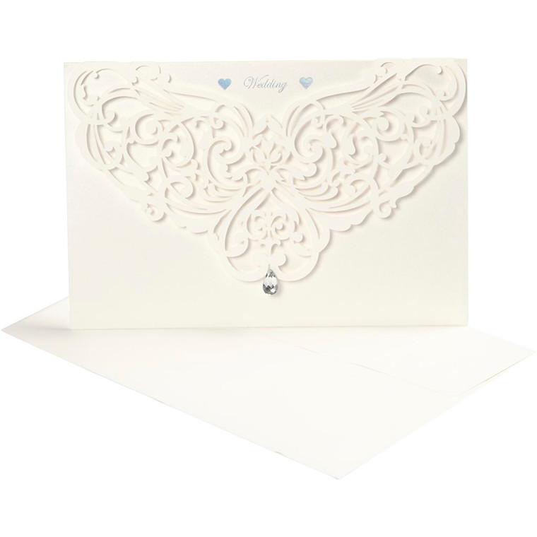 Luksus kort og kuvert, kort str. 12x17,7 cm, kuvert str. 18x12,5 cm, råhvid, 5stk., 230 g