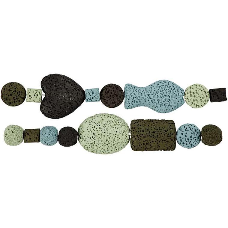 Luksus Perleharmoni, dia. 6-37 mm, hulstr. 2 mm, blå/grøn harmoni, 1sæt