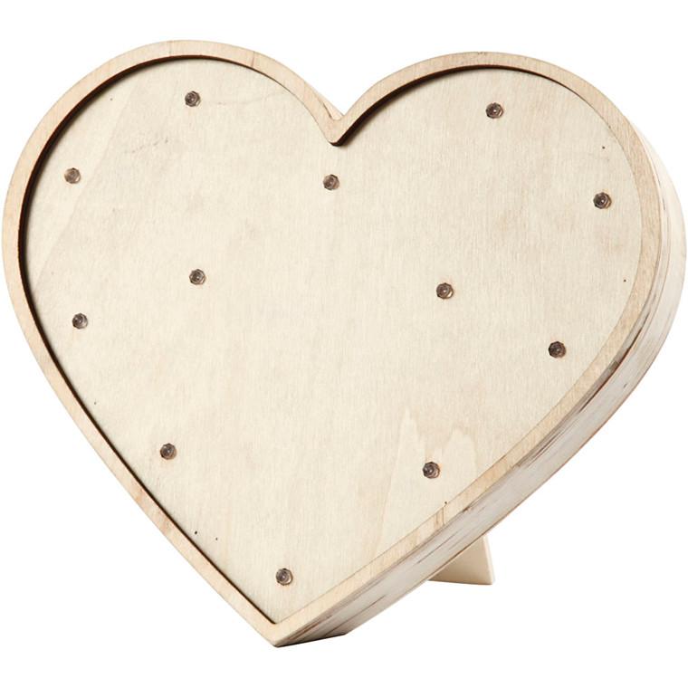 Lysboks hjerte højde 21 cm bredde 23,5 cm krydsfiner | dybde 3,5 cm