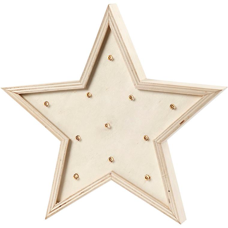 Lysboks stjerne højde 26 cm krydsfiner | dybde 3,5 cm
