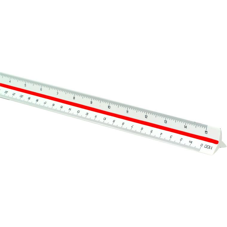 Målestok trekant 303 - Linex 1 : 2,5 : 5 : 10 : 20 : 50 : 100