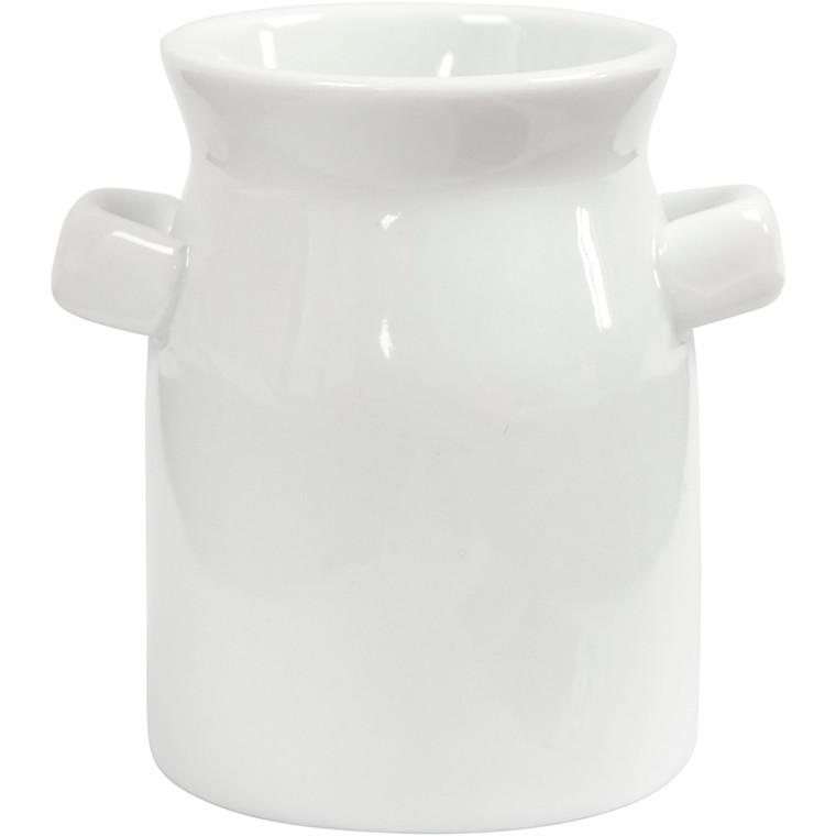 Mælkejunge, H: 7,5 cm, diam. 7,5 cm, hvid, 2stk.