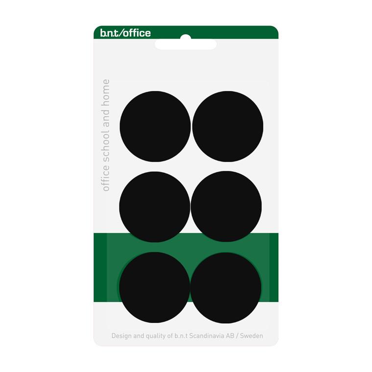 Whiteboard Magnet BNT - sort rund Ø 3 cm - 6 stk.