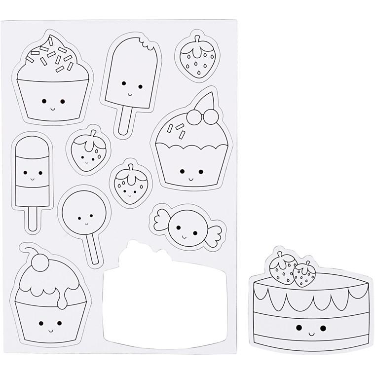 Magneter til køleskab med is og kager - 1 ark c780a190e7ce3