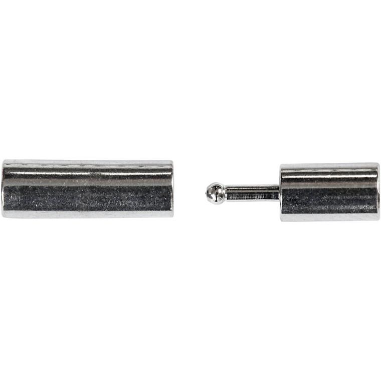 Magnetlås, str. 3x14 mm, hulstr. 2 mm, forsølvet, FS, 40stk.