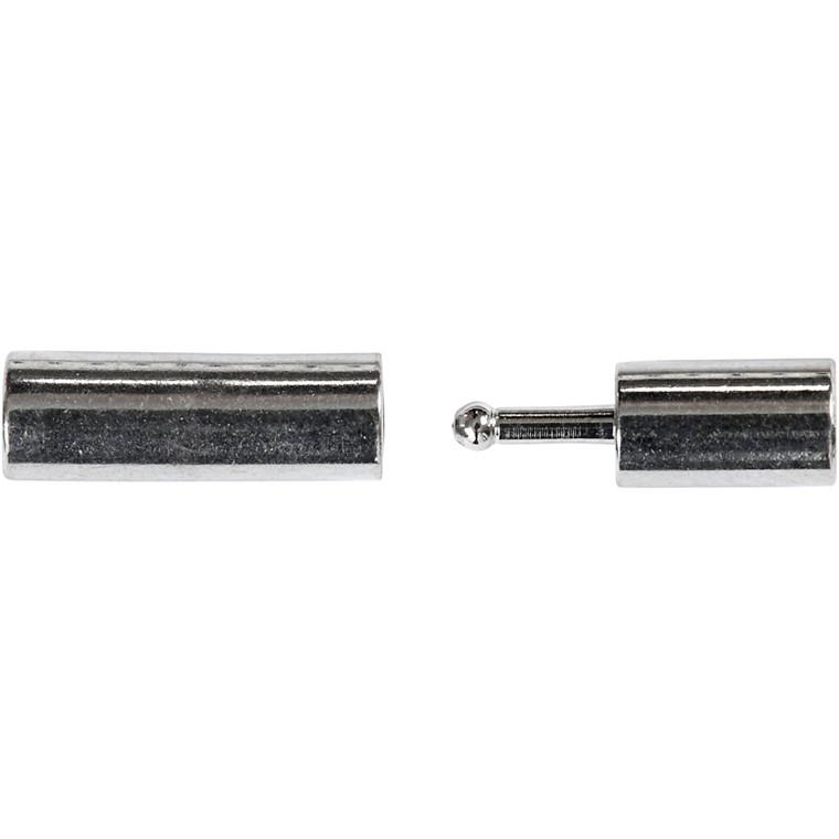 Magnetlås, str. 3x14 mm, hulstr. 2 mm, forsølvet, FS, 6stk.