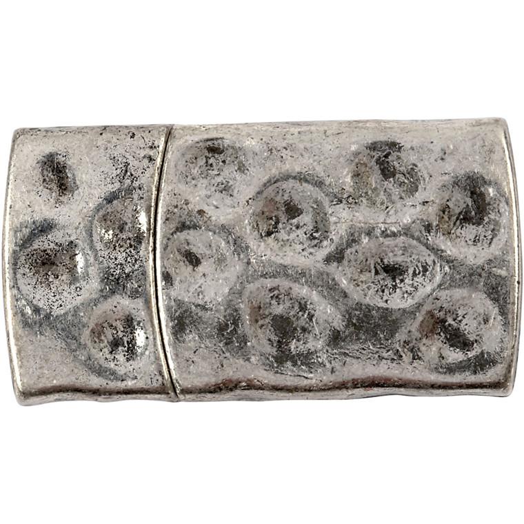 Magnetlås, str. 7x29 mm, hulstr. 3x10 mm, antik sølv, AS, 1stk.