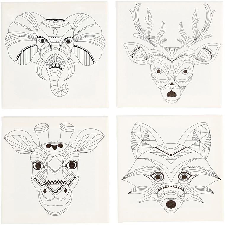 Malerlærred med print, str. 20x20 cm, dybde 1,5 cm, dyr, 4stk., 280 g