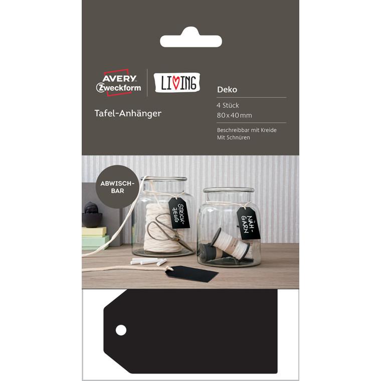 Avery 62023 - Manillamærker sort til kridt 80 x 40 mm - 4 stk