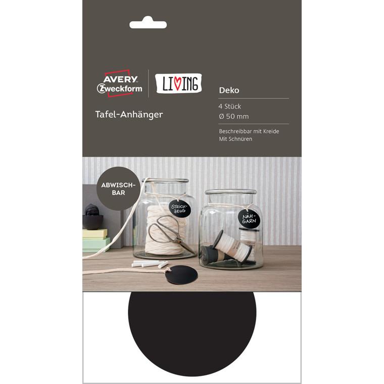 Sorte manillamærker runde til kridt Ø 50 mm Avery - 4 stk.