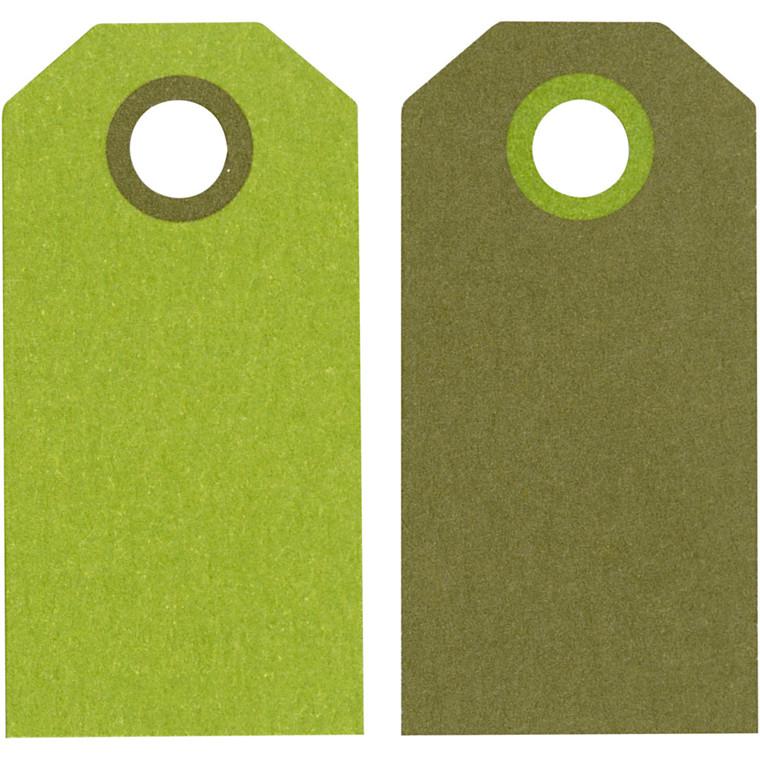 Manillamærker størrelse 6 x 3 cm 250 gram lime/mørk grøn - 20 stk.