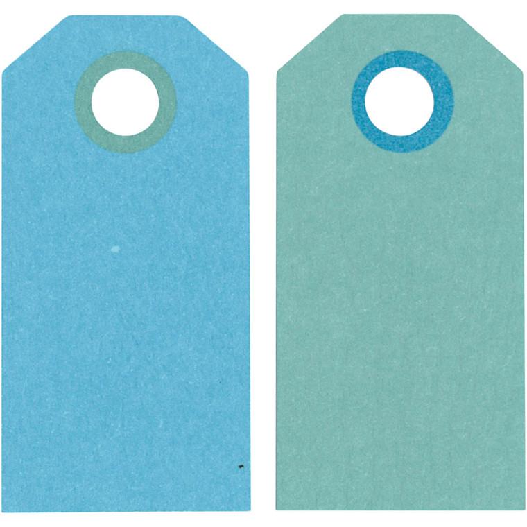 Manillamærker, str. 6x3 cm, 250 g, mørk turkis/lys turkis, 20stk.