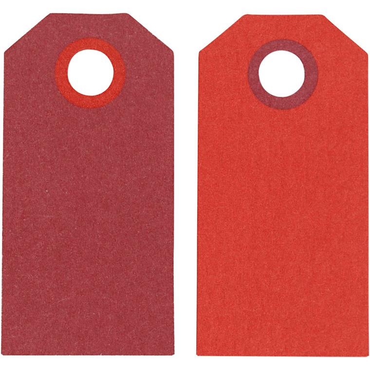 Manillamærker størrelse 6 x 3 cm 250 gram vinrød/rød - 20 stk.