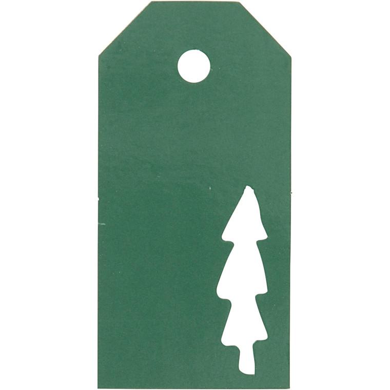 Manillamærker størrelse 5 x 10 cm 300 gram grøn Juletræ - 15 stk.