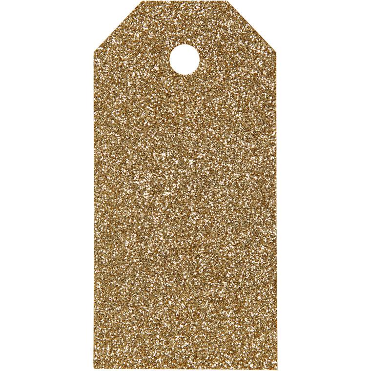 Manillamærker størrelse 5 x 10 cm 300 gram guld glitter - 15 stk.