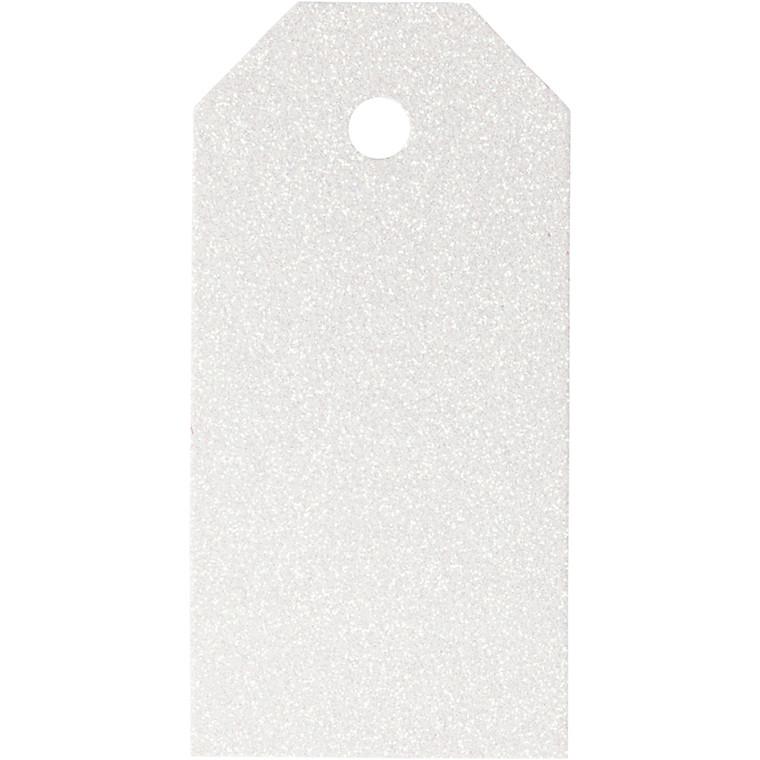 Manillamærker størrelse 5 x 10 cm 300 gram hvid glitter - 15 stk.