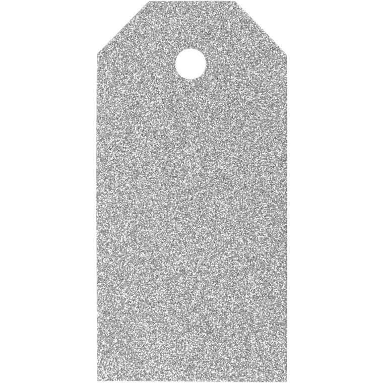 Manillamærker størrelse 5 x 10 cm 300 gram sølv glitter - 15 stk.
