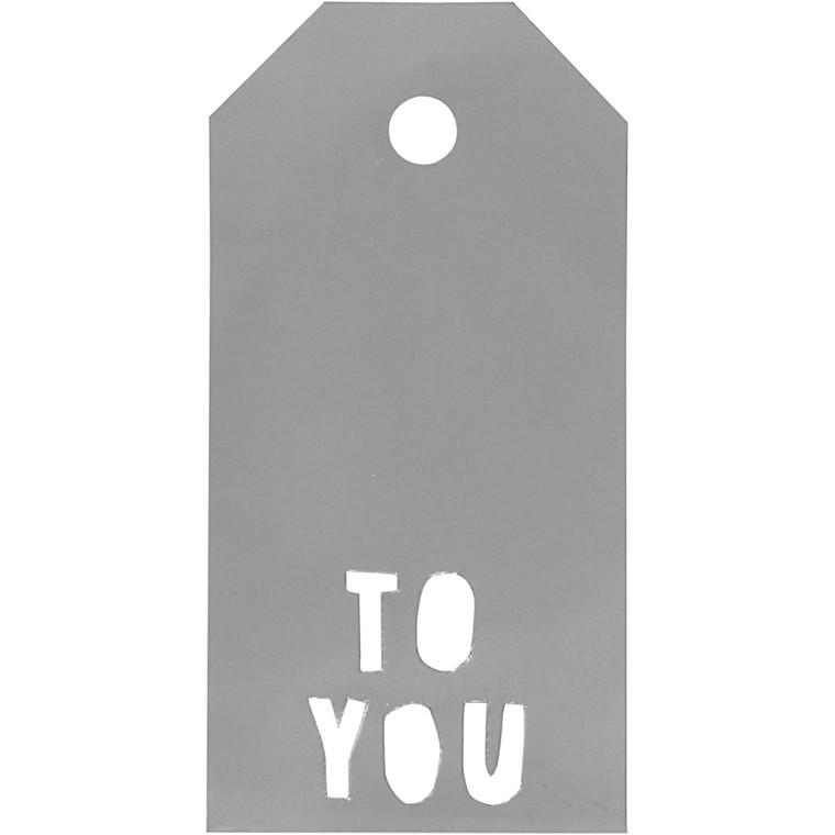 Manillamærker størrelse 5 x 10 cm 300 gram sølv TO YOU - 15 stk.
