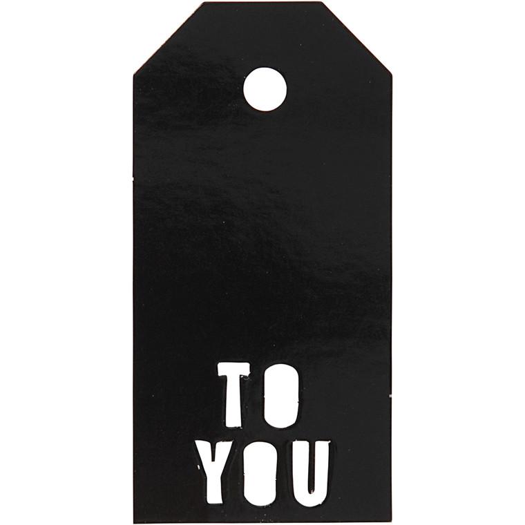 Manillamærker størrelse 5 x 10 cm 300 gram sort TO YOU - 15 stk.
