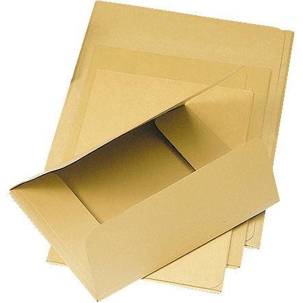 A4 3-klap mappe i 500 gram brun fidelekarton - uden elastik