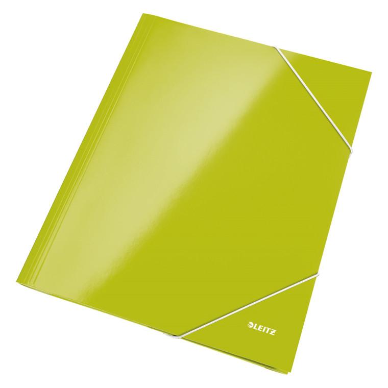 Leitz WOW 3-klap mappe A4 med elastik grøn - 39820064