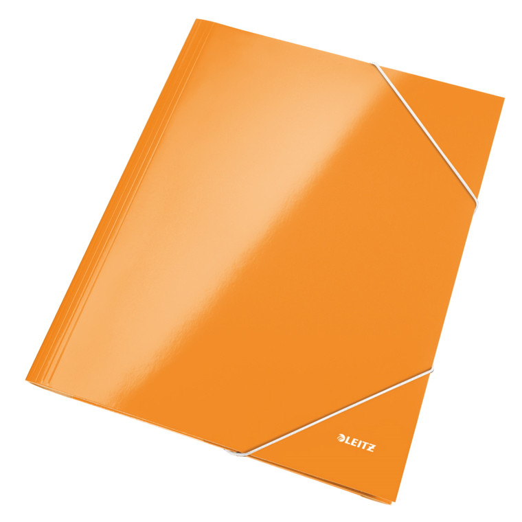 Leitz WOW 3-klap mappe A4 med elastik orange - 39820044