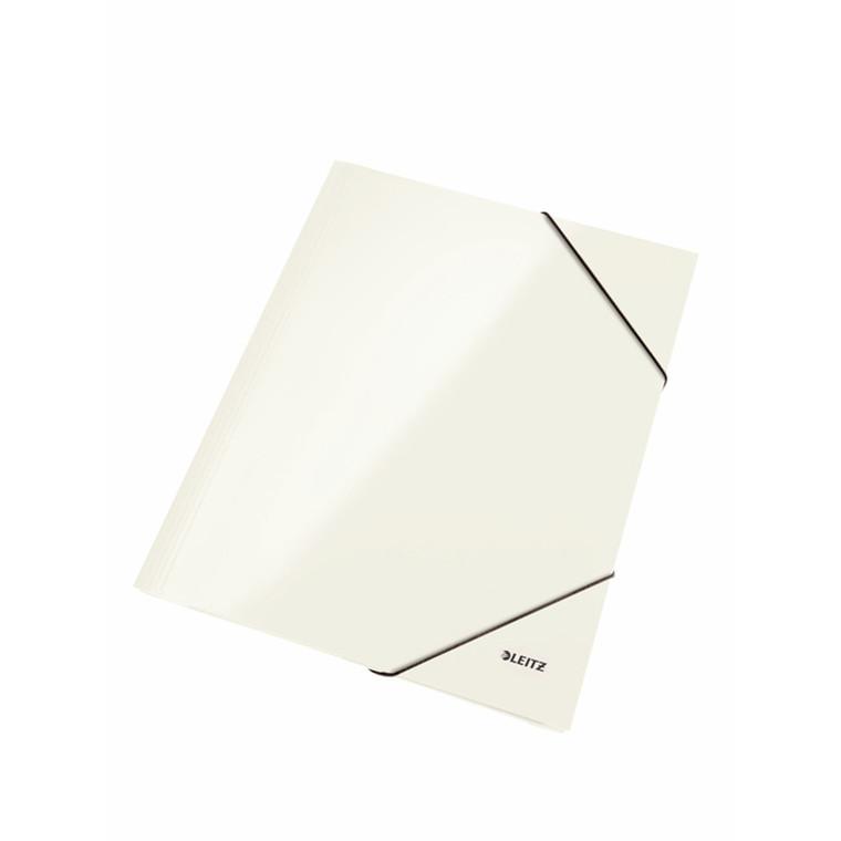 Mappe pap Leitz WOW A4 hvid m/3 klapper