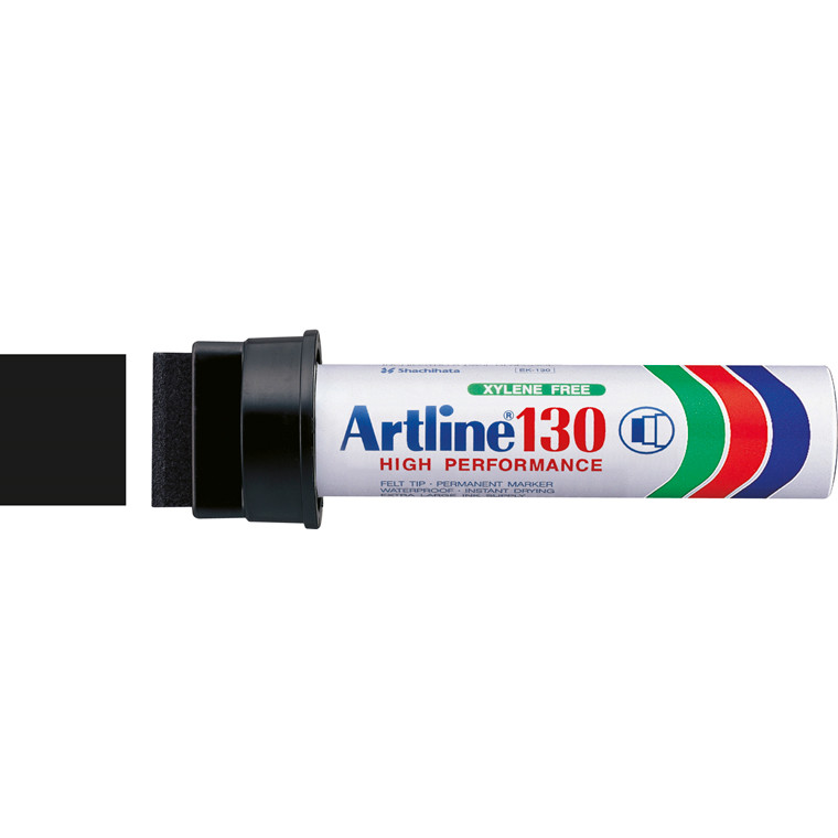 Artline 130 Jumbo Marker - Sort permanent 30 mm firkantet spids