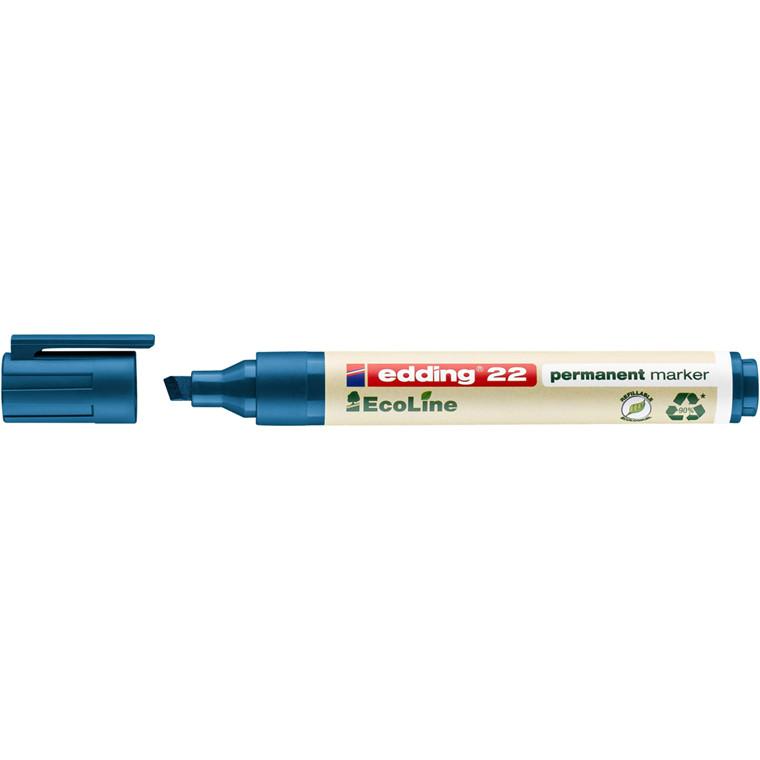 Marker edding 22 EcoLine blå perm. 1-5mm skrå spids